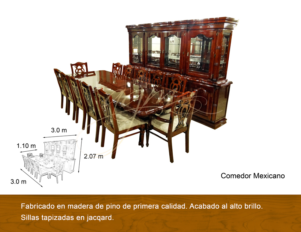Comedor mexicano 12 sillas antigua galeria del mueble for Comedores 10 12 sillas