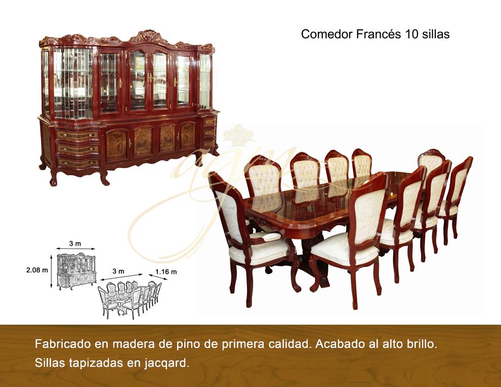 Comedor frances 10 sillas antigua galeria del mueble for Comedores 10 12 sillas